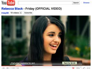 Para ver clipe inteiro de 'Friday' nos últimos dias era preciso pagar US$ 2,99  (Foto: Reprodução)
