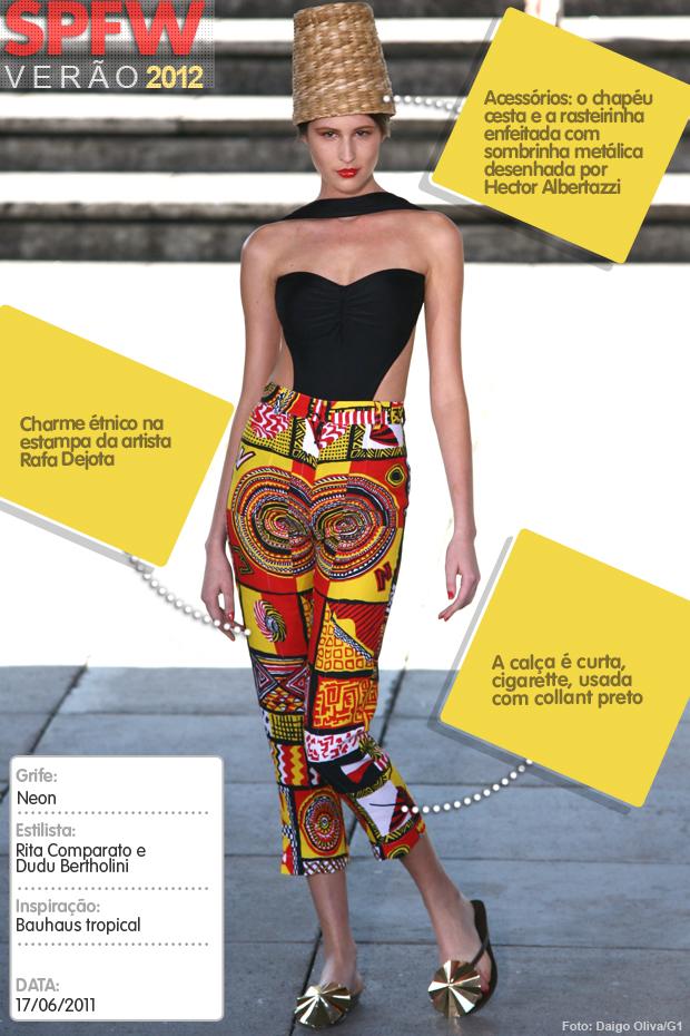 G1 analisa um look da Neon na SPFW Verão 2012 (Foto: Daigo Oliva/Arte G1)