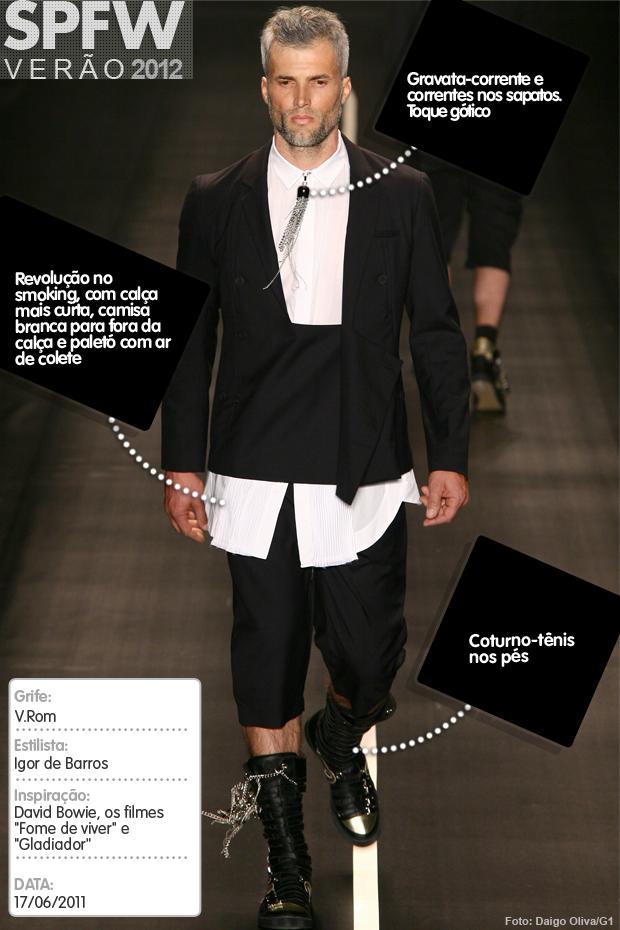 G1 analisa um look da V.Rom na SPFW Verão 2012 (Foto: Daigo Oliva/Arte G1)
