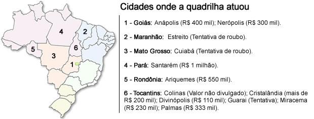 Mapa de atuação da quadrilha que assalta bancos em MT e outros seis estados. (Foto: Marcus Aurélio Moraes/G1 MT)