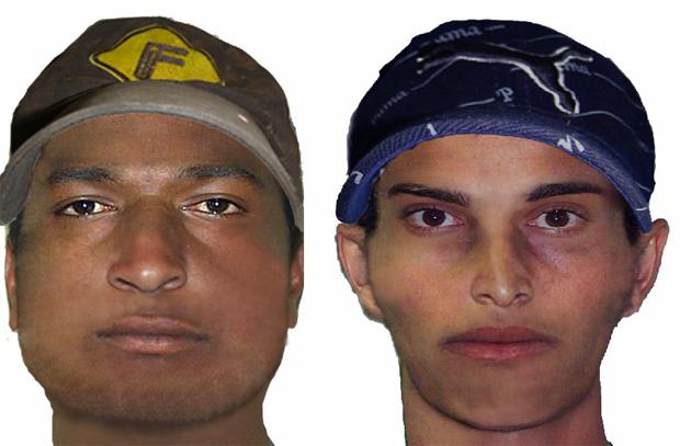 Retrato falado de suspeitos de execução de ex-policial em MS (Foto: Divulgação/PC)