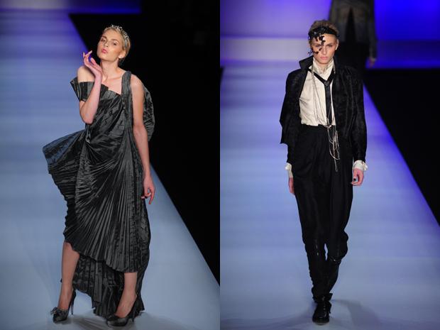 Modelo andrógino vestiu roupas masculina e feminina no desfile de Lino Villaventura (Foto: Raul Zito/G1)