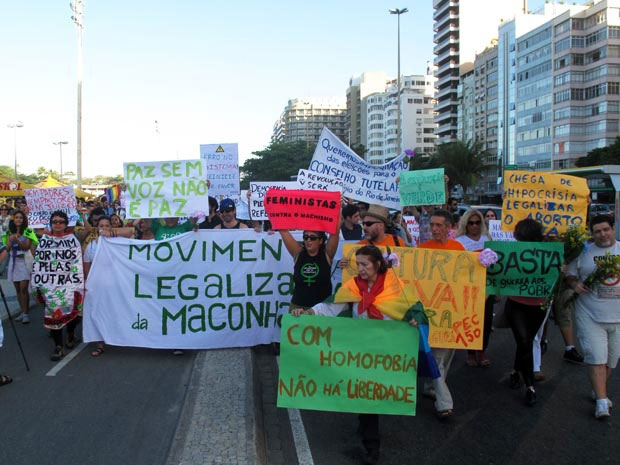 Marcha da Maconha no Rio de Janeiro (Foto: Bernardo Tabak/G1)