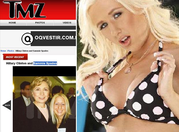 Imagem publicada pelo site 'TMZ' e outra retirada do site oficial de Sammy Spades como estrela pornô (Foto: Reprodução/Internet)