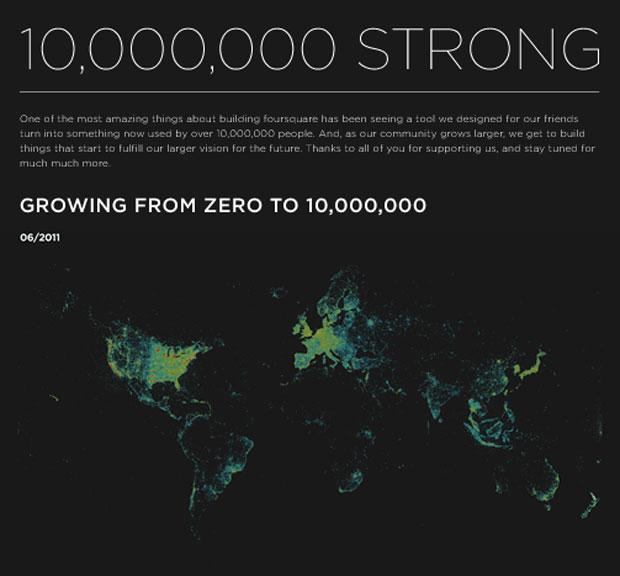Foursquare mostra mapa com usuários em todo o mundo (Foto: Divulgação)