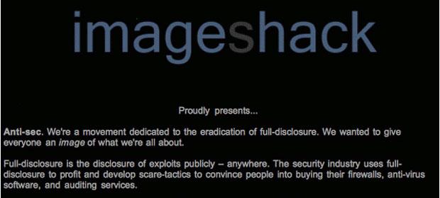 Trecho da mensagem deixada no site Imageshack. Grupo quer acabar com quem revela falhas de segurança para poder usá-las para atacar sistemas (Foto: Reprodução)