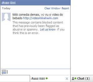 Mensagem enviada pela praga digital via Facebook para contaminar contatos da vítima (Foto: Reprodução)