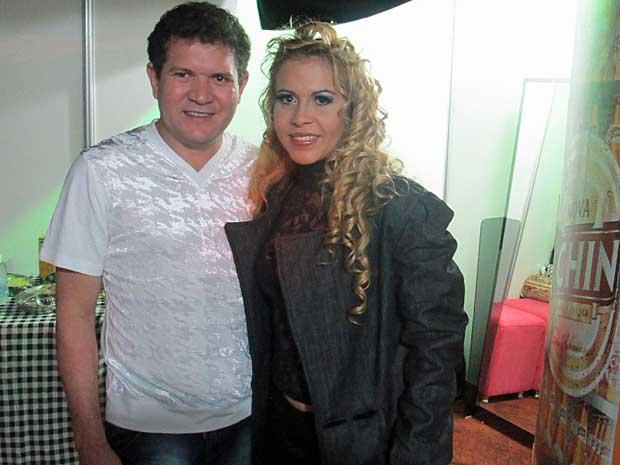 Chimbinha e Joelma, do Calypso, em entrevista ao G1, antes do show. (Foto: Daniel Buarque / G1)