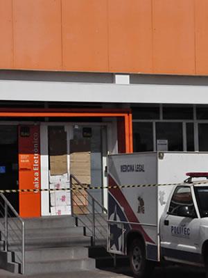 Segurança atira e mata cliente de banco em Cuiabá. (Foto: Iara Vilela / G1-MT)