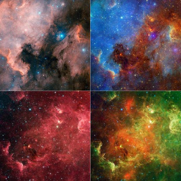 Nebulosa é mostrada em diferentes cores, visíveis ou resultado da interpretação da informação colhida em infravermelho pelo Telescópio Espacial Spitzer. (Foto: Nasa / JPL-Caltech)