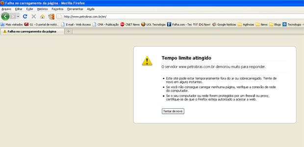 Site da Petrobras ficou indisponível a partir das 13h desta quarta (22) (Foto: Reprodução)