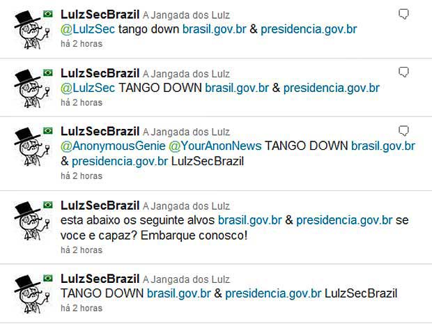 LulzSecBrazil anuncia ataque a sites do governo brasileiro atrav&#233;s do Twitter.  (Foto: Reprodu&#231;&#227;o)