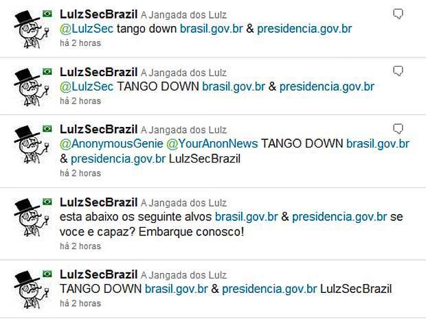 LulzSecBrazil anuncia ataque a sites do governo brasileiro através do Twitter.  (Foto: Reprodução)