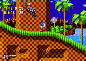 Sonic em seu momento mais marcante: correr na fase Green Hill Zone, de 'Sonic the Hedgehog' (Foto: Divulgação)