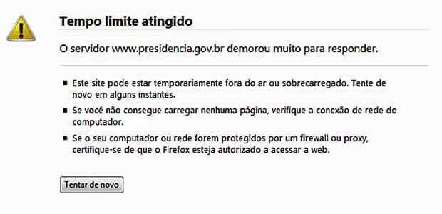 Mensagem tradicional de instabilidade no portal da Presid~encia da República, por volta de 2h30 desta quarta-feira (22). (Foto: Reprodução)