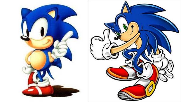Sega mudou o visual do Sonic: à esquerda, o estilo clássico e, à direita, o moderno (Foto: Divulgação)