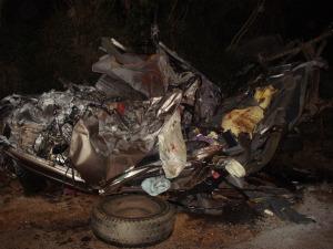 Cinco pessoas que estavam na caminhonete morreram na hora. (Foto: Divulgação Defesa Civil)