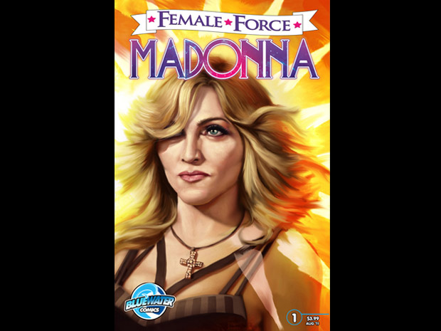 Capa da edição da revista em quadrinhos da série 'Female Force' dedicada à cantora Madonna. Com apenas 32 páginas, a HQ promete revelar 'eventos pouco conhecidos e as influências que resultaram na Madonna' que o mundo conhece. Prometida para agosto deste ano, a minibiografia em quadrinhos da popstar se soma a outras adaptações feitas pela editora canadense Bluewater, que inclui personalidades como Michelle Obama, Sarah Palin e Margaret Thatcher (Foto: AP)