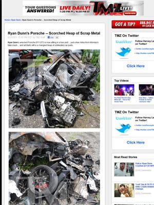 Site TMZ mostrou fotos do Porsche destruído em acidente que matou o comediante Ryan Dunn (Foto: Reprodução/TMZ)