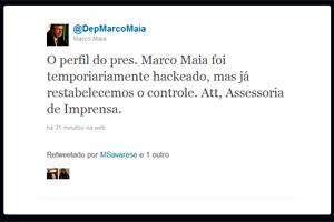 Reprodução de página do deputado Marco Maia no Twitter após a invasão (Foto: Reprodução)