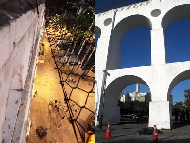 Vão por onde turista francês caiu de bonde do alto dos Arcos da Lapa nesta sexta (24) (Foto: Montagem com fotos de Mônica Imbuzeiro/Agência O Globo e Henrique Porto/G1)