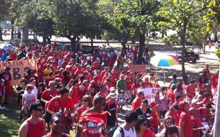 protesto bombeiros Flamengo (Foto: Tássia Thum / G1)