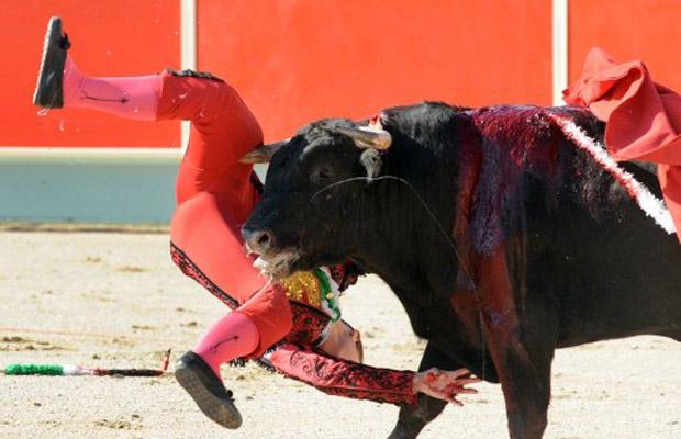 A toureira espanhola Conchi Rios é atingida por touro durante corrida na cidade francesa de Rieumes, neste domingo (26) (Foto: AFP)