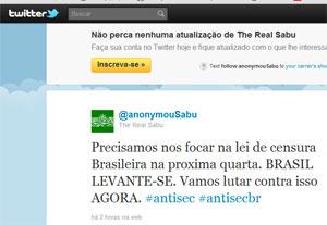 Sabu, líder do Lulzsec, postando mensagem em português contra a lei de cibercrimes (Foto: Reprodução)
