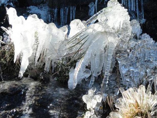 Cidade de Urupema teve cenário alterado pelo frio intenso na manhã desta terça-feira (Foto: Divulgação/Marília de Oliveira/Prefeitura Municipal de Urupema)