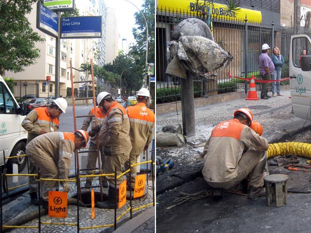 Técnicos da Light trabalham em bueiros na Rua Senador Vergueiro, no Flamengo, nesta terça (28) (Foto: Mylène Neno/G1)