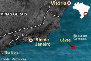 Mapa mostra poço conhecido como Gávea, no pré-sal da Bacia de Campos. (Foto: Editoria de Arte G1)