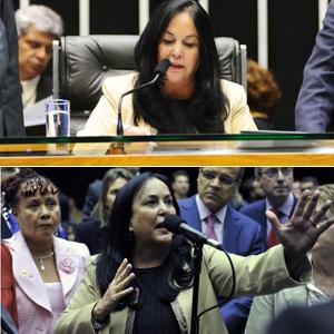 Acima, a deputada Rose de Freitas conduzindo a sessão; abaixo, a parlamentar discursando no plenário após deixar a presidência (Foto: Agência Câmara)