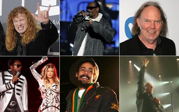 Megadeth, Snoop Dogg, Neil Young, Black Eyed Peas, Damian Marley e Peter Gabriel tocarão no SWU (Foto: G1, AP, Divulgação)