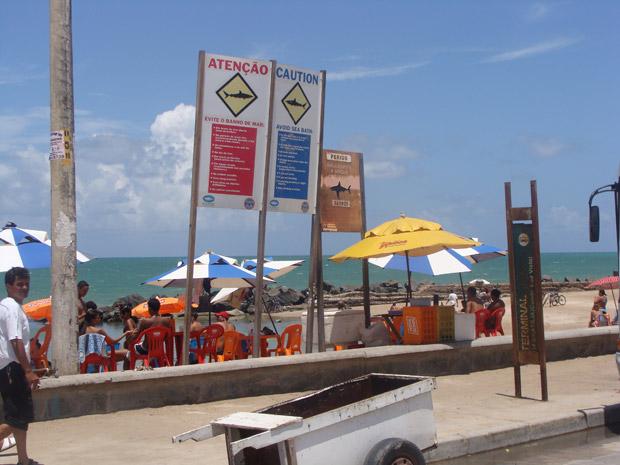 Placas alertam para o risco de ataque de tubarões em praia onde surfista foi atacado pelo animal nesta quarta-feira (Foto: Divulgação/Instituto Oceanário de Pernambuco)