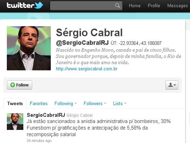 No Twitter, o governador Sérgio Cabral anunciou que sancionou a anistia administrativa aos bombeiros do RJ (Foto: Reprodução de internet)