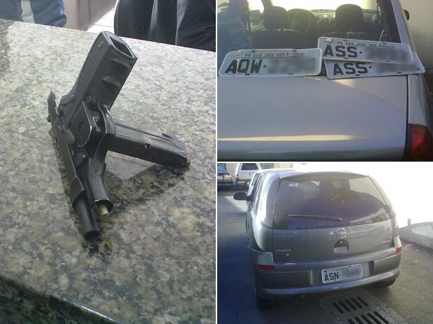 Revólver, carros e placas foram apreendidos com dois ladrões. (Foto: Divulgação)