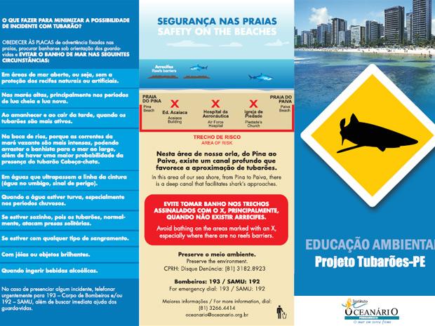 Cartilha ensina banhistas e surfistas a evitarem ataques de tubarões em Pernambuco (Foto: Divulgação/Instituto Oceanário de Pernambuco)
