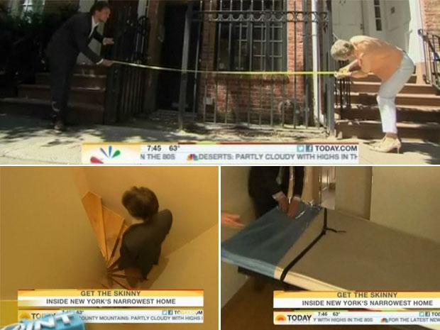 Repórter comprova que a fato realmente tem os 2,90 metros de largura. Escada apertada e cama embutida são alguns dos atributos da casa (Foto: Reprodução/today.msnbc.msn.com)