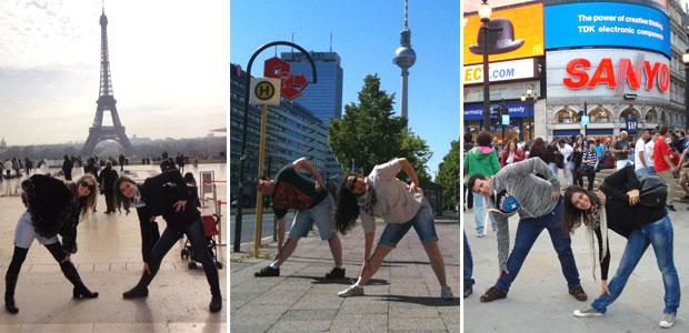 A pose da Xuxa sendo imitada em Paris, Berlim e em Londres (Foto: Reprodução/Arquivo Pessoal)