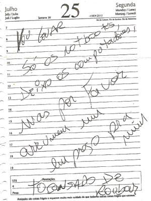 Ladrão deixou o bilhete em que pede o emprego (Foto: Reprodução/ EPTV)