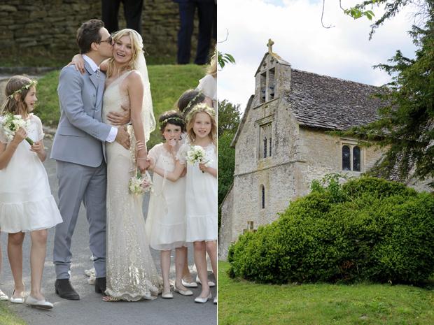 Kate Moss e Jamie Hince e a capela de St Margaret's, onde aconteceu a cerimônia.  (Foto: AP)