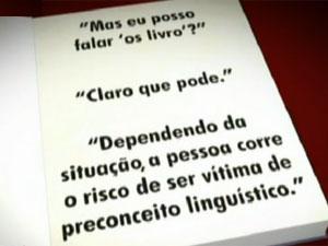 Arte mostra trechos do livro (Foto: GloboNews/Reprodução)