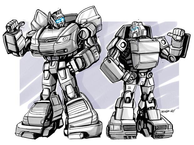 Paródia criada por Marcelo Matere a pedido do G1 transforma os carros populares Gol e Uno Mille em robôs (Foto: Marcelo Matere/Arquivo pessoal)