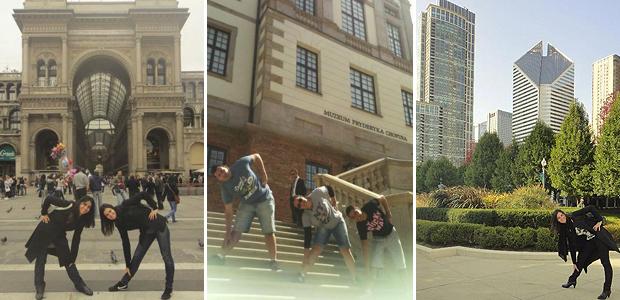 Fãs fazem a 'pose da Xuxa' na Itália, Polônia e Estados Unidos (Foto: Arquivo Pessoal)