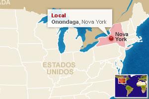 Mapa localiza Onondaga (Foto: Arte G1)