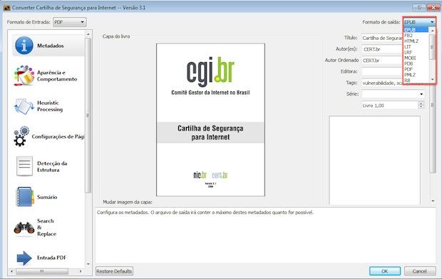 Informando dados adicionais antes da geração do arquivo EPUB (Foto: Reprodução)
