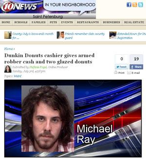 Michael John Ray foi encontrado com as rosquinhas em seu carro (Foto: Reprodução/wtsp.com)