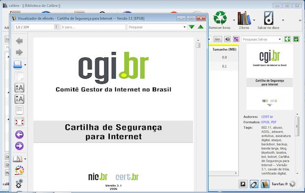 Após adicionado no acervo, é possível visualizar o ebook com o próprio programa (Foto: Reprodução)
