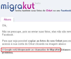 Aplicativo Migrakut foi bloqueado pelo Google. Segundo a empresa, ferramentas automáticas não são permitidas (Foto: Reprodução)