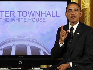 Presidente americano durante debate via Twitter (Foto: Larry Downing/Reuters)